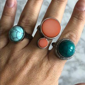 Jewelry - Stone ring set, size 8/9